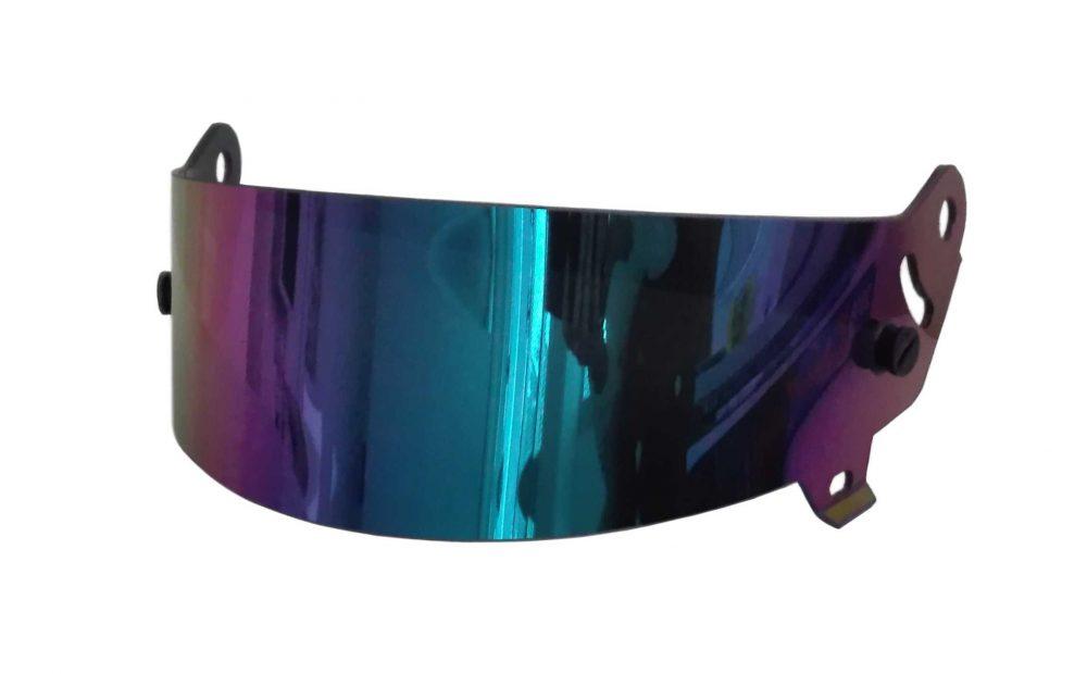 Visiera casco racing con specchiatura iridium blu